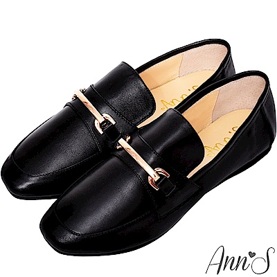 Ann'S成熟日子-金屬扣飾真皮柔軟綿羊皮紳士平底鞋-黑