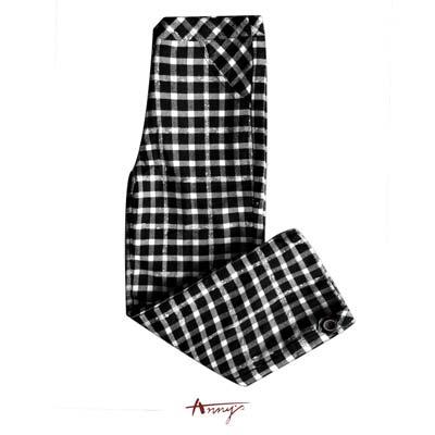 Annys經典黑白格紋鈕扣造型口袋長褲*9267黑