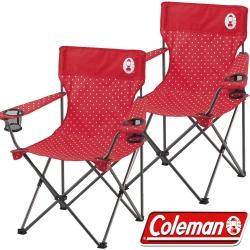 Coleman CM-26734_圓點紅 渡假休閒椅(2入)/野餐桌椅/露營椅 公司貨
