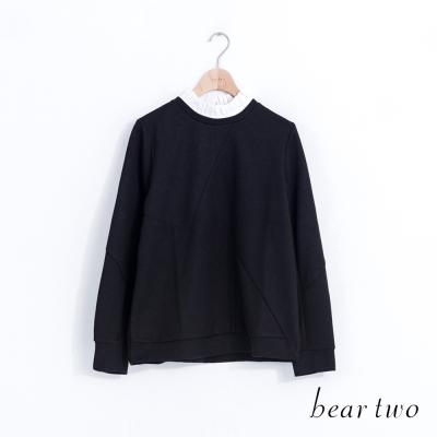 beartwo立體拼接荷葉領火箭別針上衣-黑色