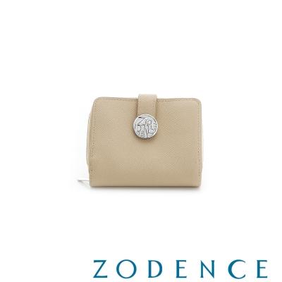 ZODENCE-英國牛皮拉鍊系列荔枝紋水鑽短夾-杏