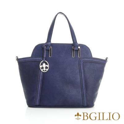 義大利BGilio-時尚簡約水染牛皮側背包-藍紫色 1972.002-09