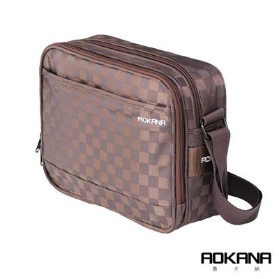 AOKANA 商務旅者Elda系列 中型商務出差斜背包多隔層設計(咖格)02-036D2