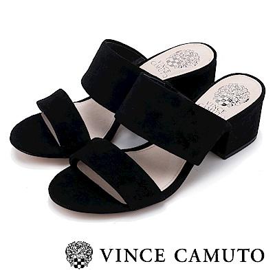 Vince Camuto 素色寬版百搭粗中跟涼鞋-絨黑