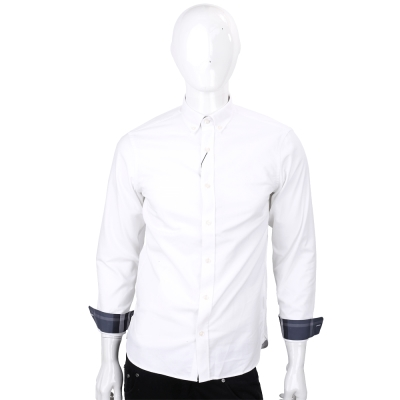 BURBERRY 格紋細節棉質長袖牛津襯衫(白色)