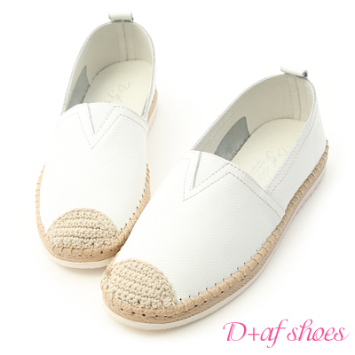 D+AF 簡單有型.真皮草編風休閒小白鞋*白