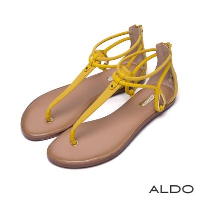 ALDO-原色蛇紋金屬鏤空水滴T字繫帶涼鞋-芥末黃色