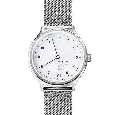 MONDAINE 瑞士國鐵Helvetica 聯名腕錶-白x米蘭錶帶版/ 33 mm