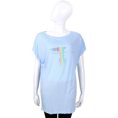TRUSSARDI 水藍色多彩貼飾LOGO設計長版上衣