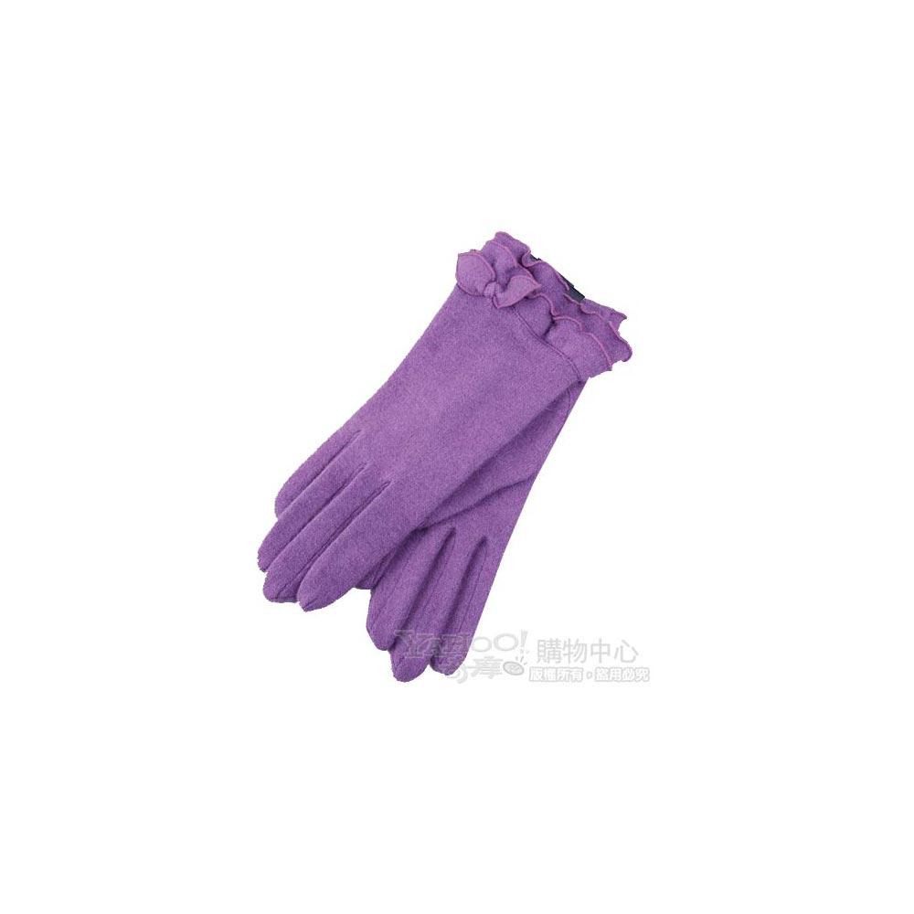CLATHAS 優雅荷葉邊造型蝴蝶結字母logo刺繡安哥拉毛尼手套(淺紫)