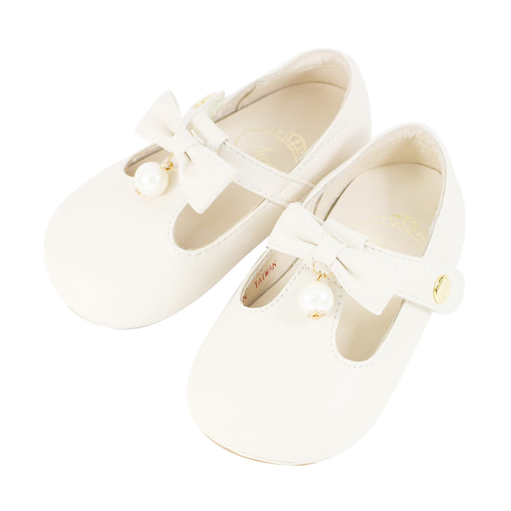 Swan天鵝童鞋-簡約素雅珍珠學步鞋1493-米