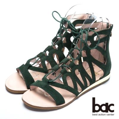 bac歐風時尚 透視裸肌羅馬涼鞋-綠色