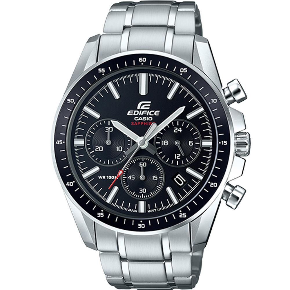 EDIFICE 三眼沉穩計時腕錶(EFB-570D-1A)黑/44.7mm