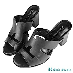 Robinlo Studio知性摩登羊皮粗跟穆勒拖鞋 黑色