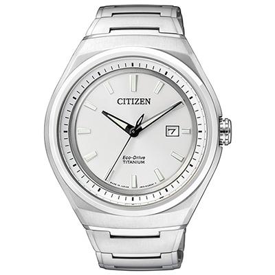 CITIZEN 科技新貴鈦時尚光動能腕錶(AW1251-51A)-白/42mm