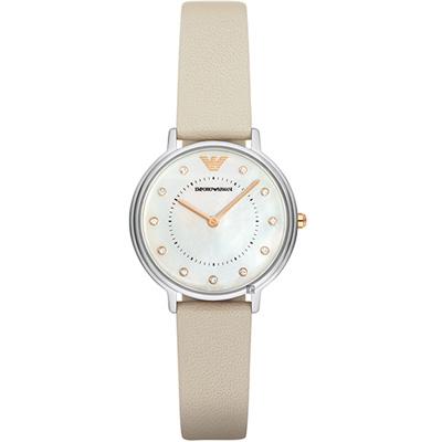 Emporio Armani 時尚薄型女用套錶(AR80001)-白/31mm