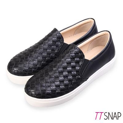 TTSNAP厚底樂福鞋-MIT素面皮革編織真皮休閒鞋 黑