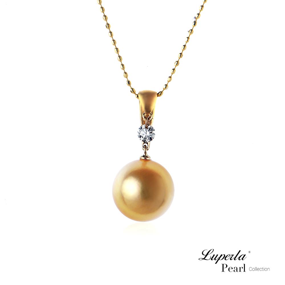 大東山珠寶 南洋珍珠項鍊墬飾-閃耀真鑽 金珠