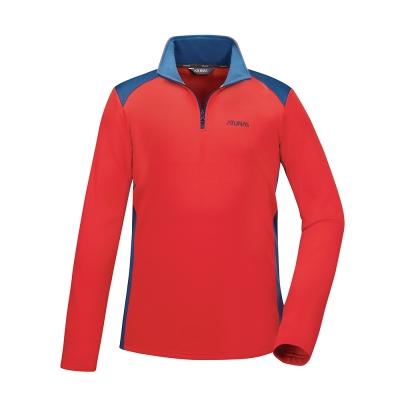 【ATUNAS 歐都納】男款透氣吸濕排汗長袖保暖POLO衫A1-P1720M柑紅