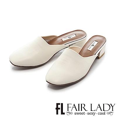 Fair Lady時髦休閒方頭設計粗跟涼鞋 白