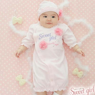 Nishiki 日本株式會社 粉紅立體雪紡花朵兩穿式長袖連身衣