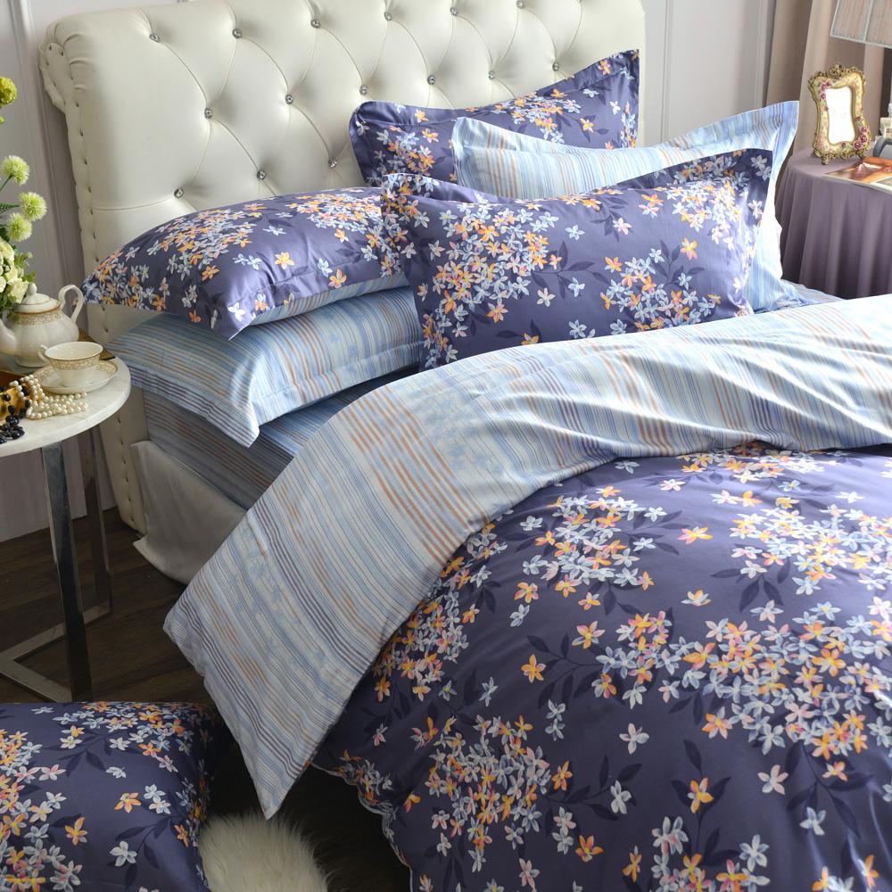 MONTAGUT-夜語芬芳-高密度精梳棉-特大四件式兩用被床包組