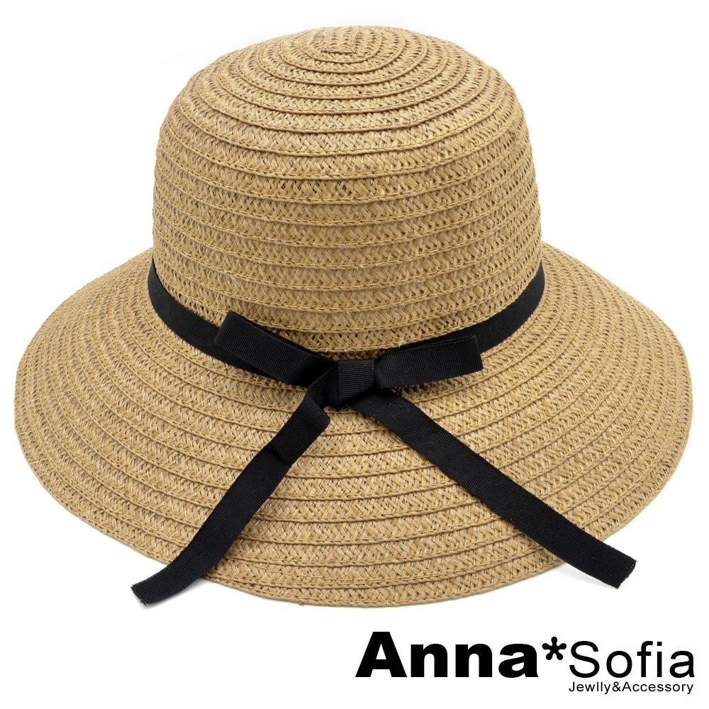 【出清3件5折】AnnaSofia 緞帶黑結 寬簷遮陽淑女帽草帽漁夫帽(駝系)
