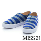 MISS 21 亮眼排列水鑽牛仔布厚底鞋-藍