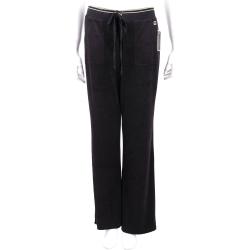 Juicy Couture 金線鑲邊細節黑色天鵝絨休閒褲