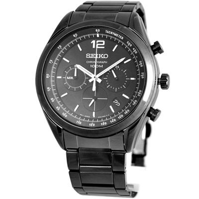 SEIKO 黑暗騎士計時運動錶(SSB093P1)-鍍黑/45mm