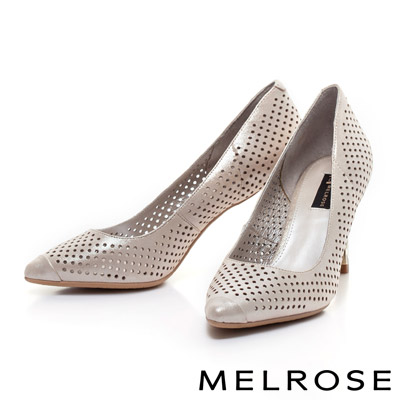 MELROSE-金屬電鍍造型鞋跟打洞美型尖頭高跟鞋