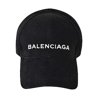 BALENCIAGA巴黎世家經典刺繡字母LOGO棒球帽(L/黑)