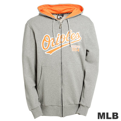 MLB-巴爾的摩金鶯隊厚棉連帽外套-灰(男)