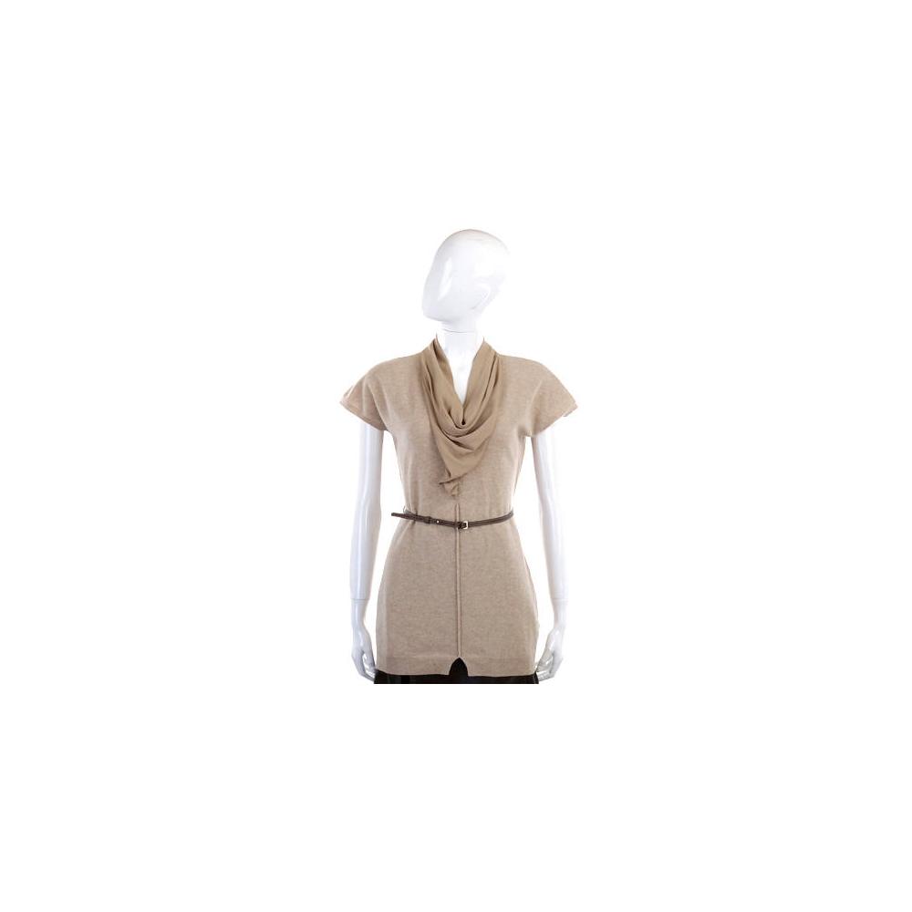 FABIANA FILIPPI 設計領美麗諾羊毛針織上衣(附腰帶)