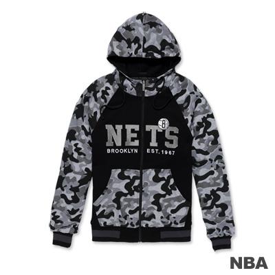 NBA-布魯克林籃網隊繡花迷彩連帽鋪棉外套-黑色(男)