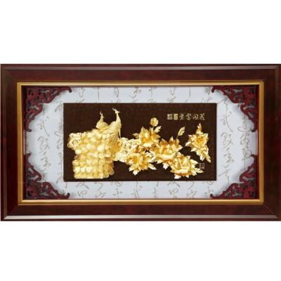 開運陶源 金箔畫 黃金畫純金*精緻系列* 牡丹孔雀【花開富貴】108x61cm