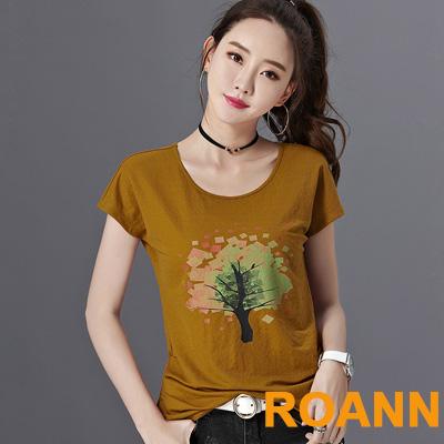 圓領渲染大樹印花短袖T恤 (共三色)-ROANN