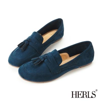 HERLS 英倫雅痞 麂皮流蘇2way樂福鞋-深藍