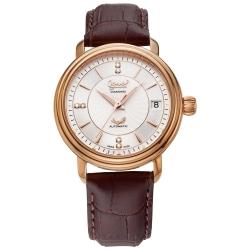 Ogival 瑞士愛其華 豪俊鑽石自動機械腕錶-咖啡/35mm