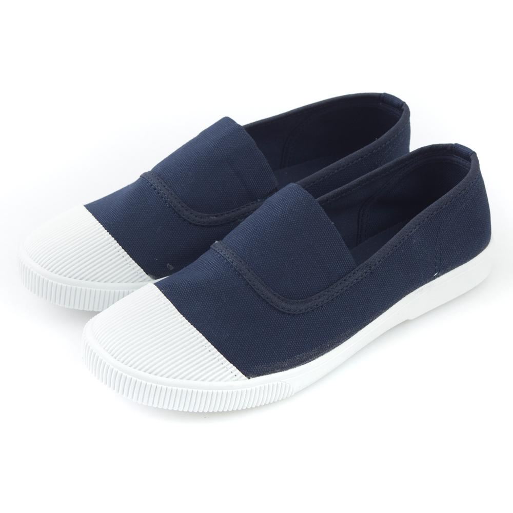 Camille's 韓國空運-正韓製-彩色心情-素面帆布懶人休閒鞋-注目藍