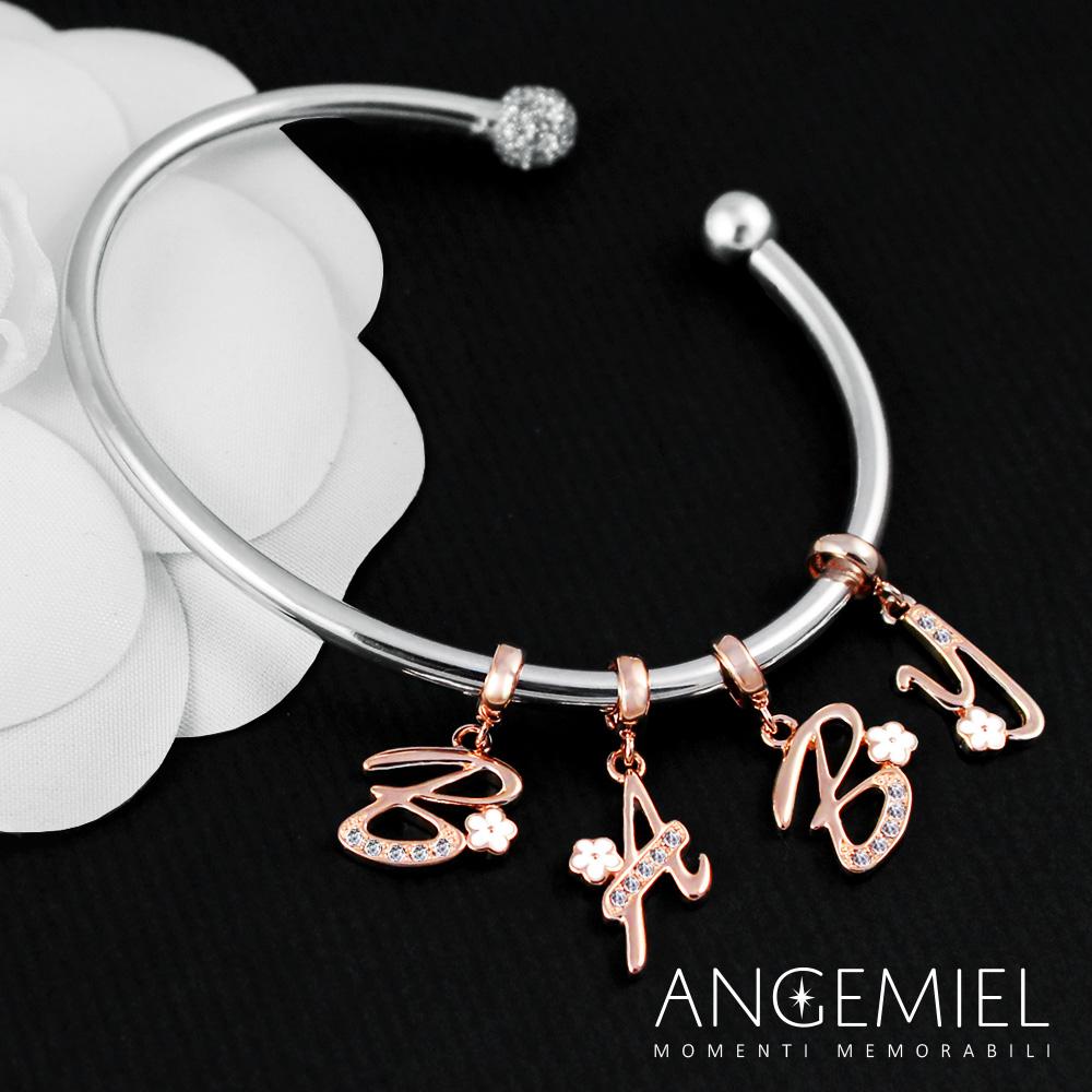 Angemiel安婕米 義大利串珠 925純銀吊飾 花朵字母