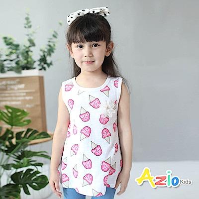 Azio Kids 童裝-上衣 冰淇淋花朵竹節棉背心(白)
