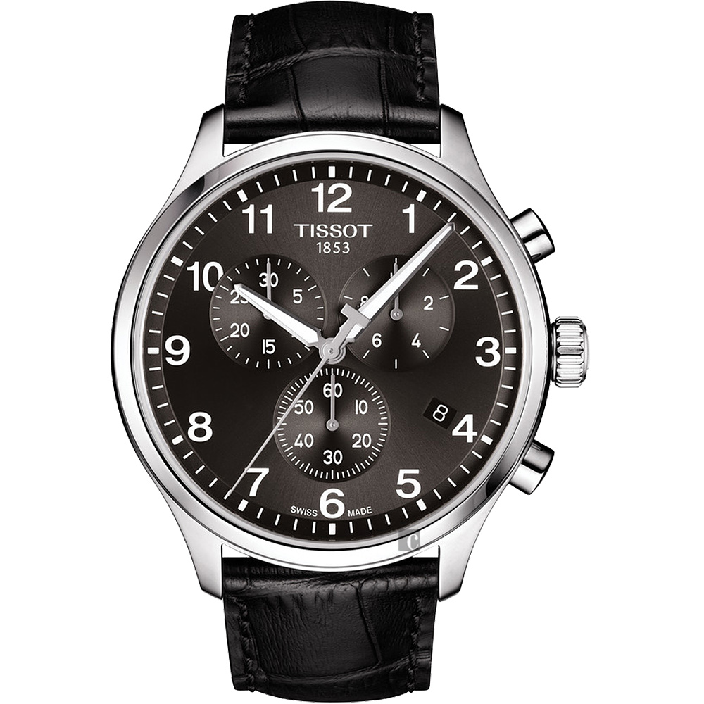 TISSOT天梭 韻馳系列 Chrono XL計時手錶-灰x黑/45mm