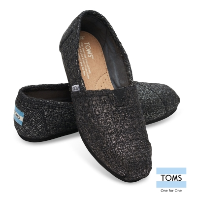 TOMS-黑色編織帆布懶人鞋-女款
