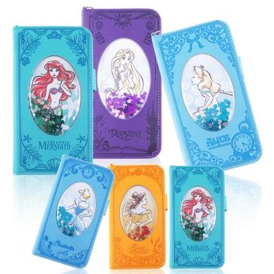 Disney迪士尼經典iPhone 6/6s Plus壓紋亮片流沙皮套
