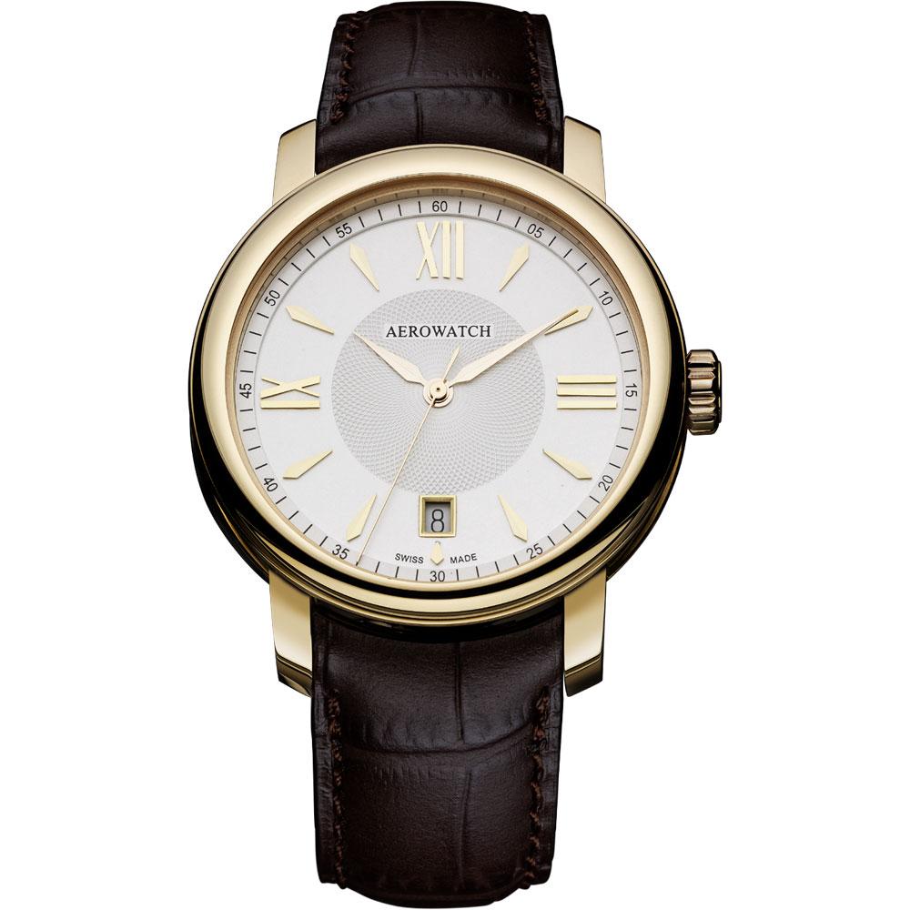 AEROWATCH Elegance 羅馬復刻腕錶-銀x金框/40mm