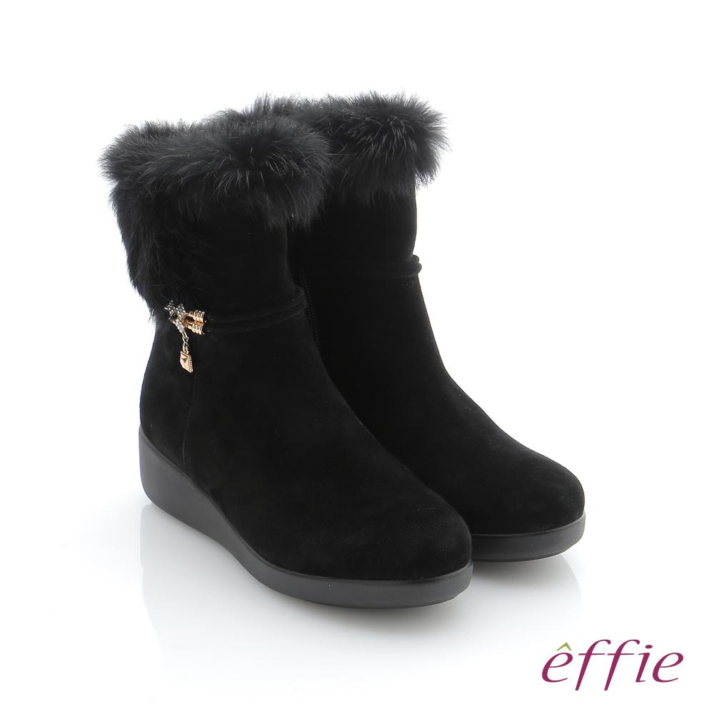 effie 循環暖靴 羊絨兔毛飾釦中筒靴 黑色