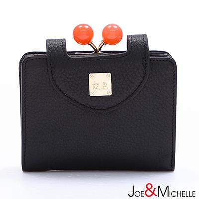 J-M-真皮愛蜜莉框釦短夾-質感黑