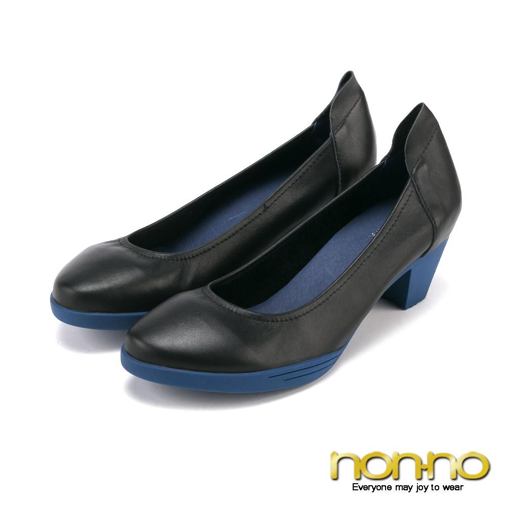nonno 玩美都會 百搭簡約中跟鞋-深藍