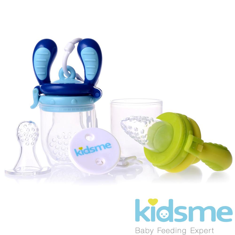 英國kidsme咬咬樂輔食器基本套裝組-(綠黃+藍)